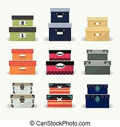 decoración, cajas, colorido, variado