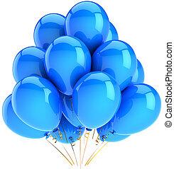 decoración, cian, helio, globos