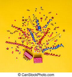 decoración, concepto, explosión, festivo, amarillo, creativo...