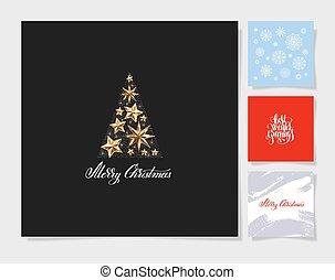 decoración, conjunto, árbol, navidad, plano de fondo