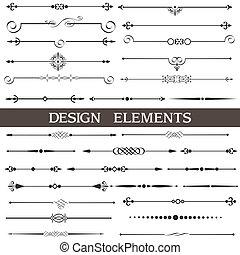 decoración, conjunto, calligraphic, vector, diseño, página, elementos