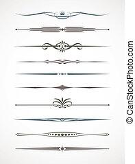 decoración, conjunto, deviders, vecror, -, página del texto