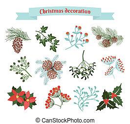 decoración, conjunto, navidad, elementos
