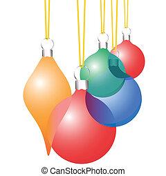 decoración, conjunto, ornamentos, navidad, translúcido