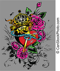 decoración, corazón, flores, real