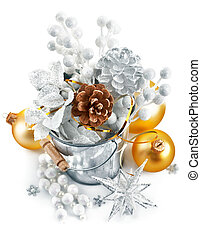 decoración, cubo, oropel, navidad