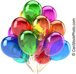 decoración, cumpleaños, globos, feliz