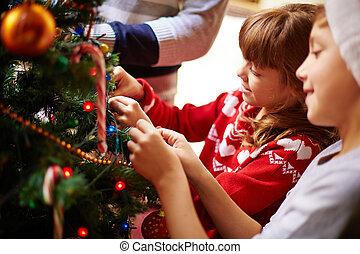 decoración, de, árbol de navidad
