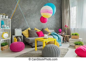 decoración de casa, idea, colorido