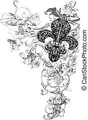 decoración, de, fleur, lis