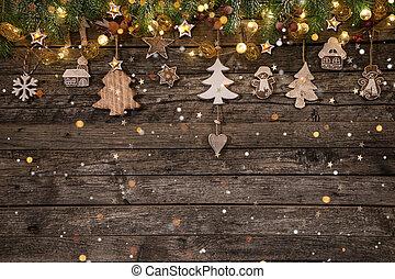 decoración, de madera, navidad, plano de fondo