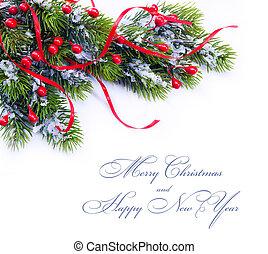 decoración de navidad, árbol abeto, ramas, blanco, plano de...