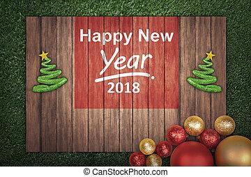 decoración de navidad, con, mensaje, de, feliz año nuevo, 2018, en, tablero de madera