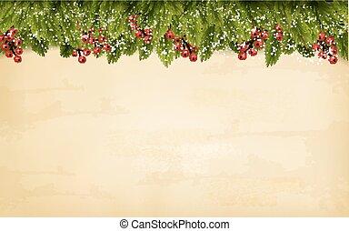 decoración de navidad, en, viejo, papel, fondo., vector.
