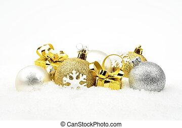 decoración, dorado, navidad, nieve