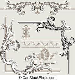 decoración, elementos, clásico