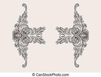 decoración, elementos, floral, ornamento