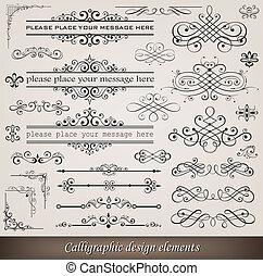 decoración, elementos, página, calligraphic