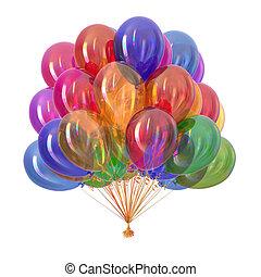 decoración, fiesta, multicolor, globos