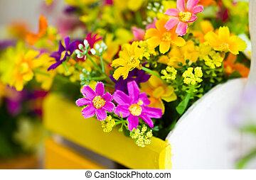 decoración, flor, artificial
