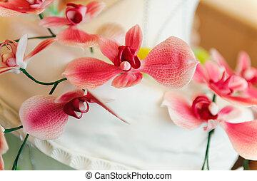 decoración, flores, de, torta de la boda