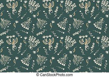 decoración, fondo., tendencia, verde, ramos, textil, peón, ...