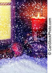 decoración, frente, ventana, nieve, navidad