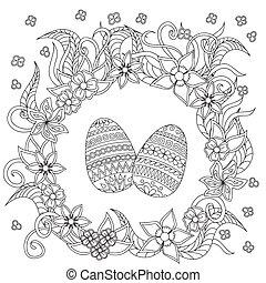 decoración, garabato, huevos, flores