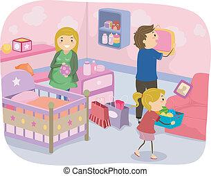 decoración, guardería infantil, familia
