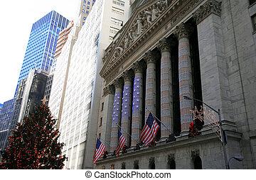 decoración, intercambio, york, nuevo, navidad, acción