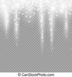 decoración, luz, caer, navidad, nieve