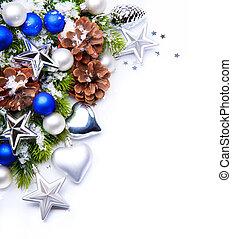 decoración, marco, árbol, navidad, copos de nieve