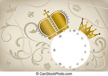 decoración, marco, coronas