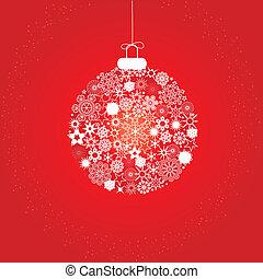 decoración, navidad blanca, rojo