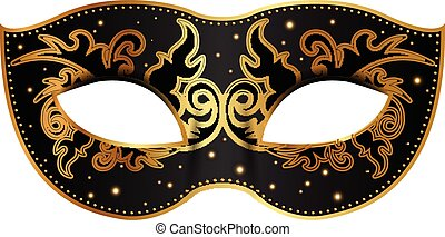 decoración, negro, máscara, oro