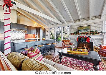 decoración, norteamericano, clásico, navidad, vida, georgeous, habitación, design.