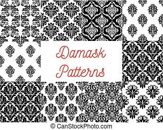 decoración, ornamental, damasco, patrones