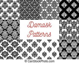 decoración, ornamental, patterns., damasco