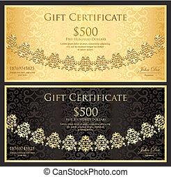 decoración, oro, encaje, certificado, vendimia, negro, regalo, plano de fondo, redondeado, lujo