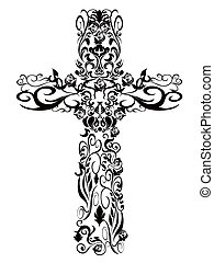 decoración, patrón, cristiano, diseño, cruz