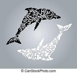 decoración, patrón, delfín