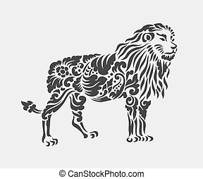 decoración, patrón, león