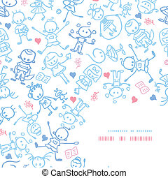decoración, patrón, niños, plano de fondo, esquina, juego