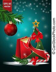 decoración, pelotas, diseño, rama, navidad, 22, plano de fondo, copos de nieve, picea