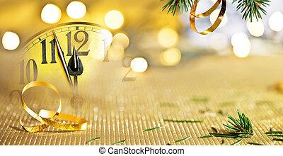 decoración, reloj, navidad, antes, cara, medianoche