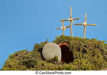 decoración, –, resurrección, pascua, jardín