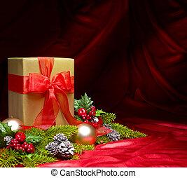 decoración, rojo, adornado, raso, presente navidad