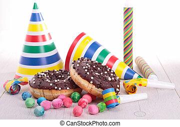 decoración, rosquillas, carnaval, chocolate