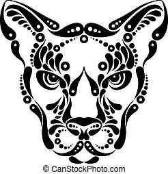 decoración, símbolo, puma, tatuaje, ilustración