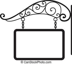 decoración, signboard, metal, retro